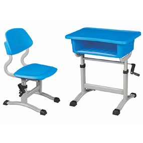 塑鋼手搖式升降課桌椅